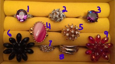 Lot of 9 Costume Rings, Various Designs, Colors and Sizes (18-211)