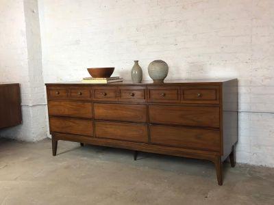 Mid-Century Triple Dresser in Walnut