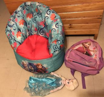 Frozen chair, 16 doll & small back pack $15 all 3