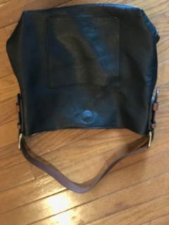 Black leather purse with brown handle