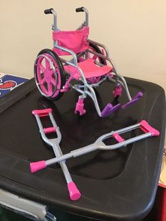 18 inch Doll wheelchair and crutches