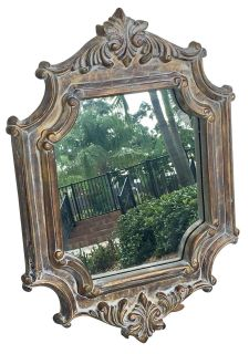 Small Mirror With Decorative Wooden Frame