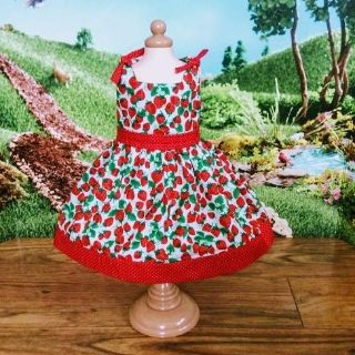Strawberry Cotton Dress for American Girl Dolls