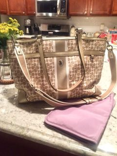 Excellent Used Condition COACH Gold/Lavender Baby (Diaper) Bag