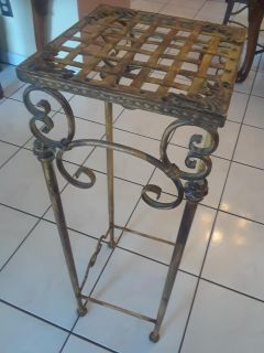 Gold Distressed Metal Plant Stand / Accent Table