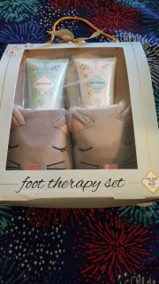 Foot therapy set with kitten slippers. $5.00