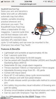 For Sale: NIB Champion Easybird Trap Thrower, oscillating base, taxi cart