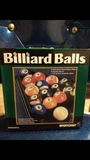 """Like new, Sportcraft billiard balls..1.5"""" balls for 82"""" table...Ave online price w/shipping is $32.00. Asking $20.00"""