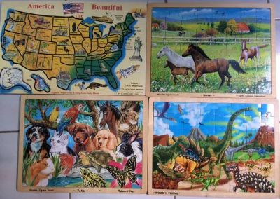 Set of 4 Wood Melissa Doug Jigsaw Puzzles Wooden Puzzle Dinosaurs Pets