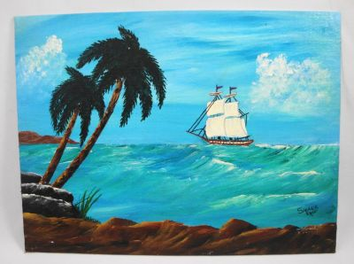 """Out to Sea Acrylic Seascape Landscape Painting Ocean Scene 9"""" x 12"""""""