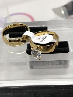 Gold Two Ring Set Size 7