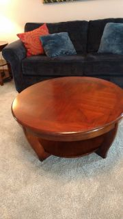 Beautiful round wooden coffee table.