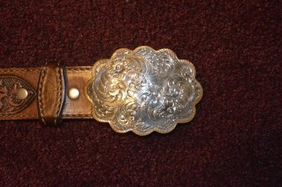 Circle Y Leather Belt with a Montana Silversmiths Buckle