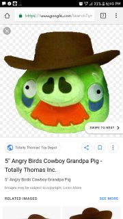 angry birds cowboy pig plush