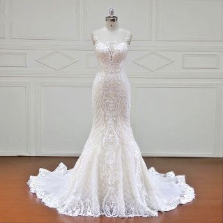 Stephanie's New Lace Sheath Wedding Dress