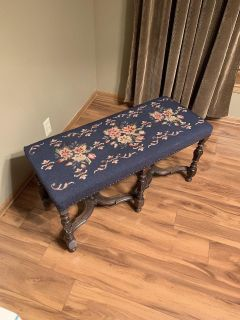 English hand carved antique bench w/hand stitched embroidery