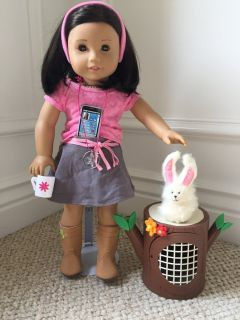 "American Girl Just like you 18"" doll w/ Razzy Rabbit, cell phone, mug"