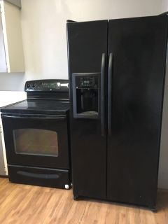 GE Stove and side-by-side Refrigerator
