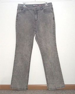 Style & Co Boot Cut Gray Acid Wash Bling Studded Button-Flap Jeans sz 10 W32 L32