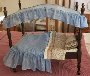 4 poster doll bed with custom linens