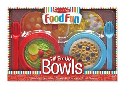 Melissa & Doug Create-A-Meal Fill Em Up Bowls 12 Piece Play Food and Kitchen Accessories