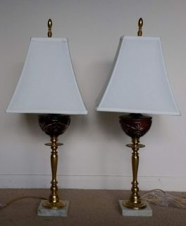 Table Lamps. Marble pedestal. Brass and burgundy Murano glass