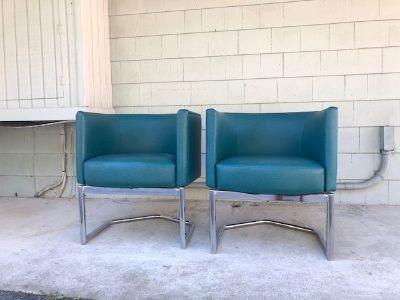 Pair of Milo Baughman Style Floating Club Chairs