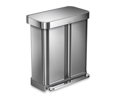 NEW! SimpleHuman Dual Compartment Rectangular 58-Liter Step Trash Can in Brushed Stainless Steel