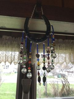 Horseshoe window hanging. Bring some rainbows in your home.