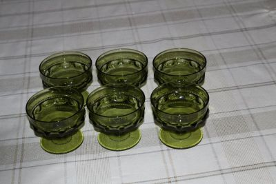Vintage green sherbet glasses-Set of 6: