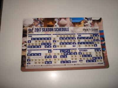 Collectible 2017 Milwaukee Brewers Season Schedule Magnetic Brand New!