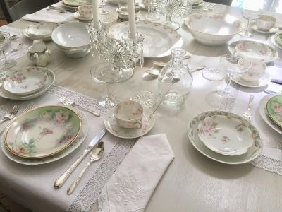 Entire Table of Shabby Chic Mismatched Fine China and Silver