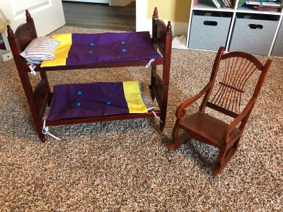 American girl bunk bed and rocking chair