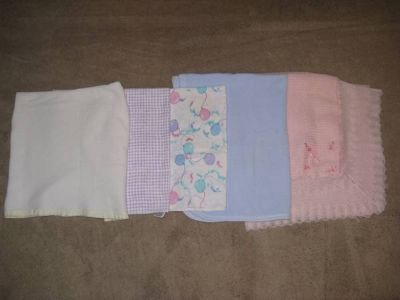 5 Baby receiving blankets or doll blankets