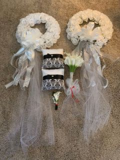 Wedding wreaths, ring pillows, boutonni re & bouquet