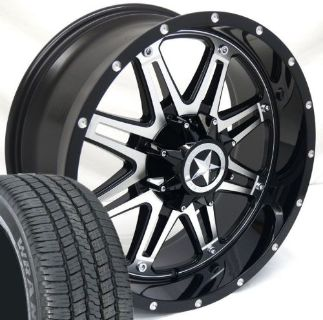 "Buy 20"" Black CNC Face Lonestar Outlaw Wheels Tires Chevy Ford 275/55/20 20x9 6 lug motorcycle in Katy, Texas, United States"