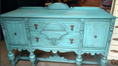 Custom Chalk Painted Matching China Cabinet and Buffet