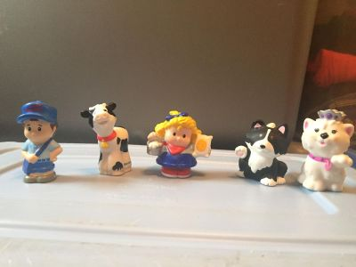 Fisher Price Little People Farmer girl, Letter Carrier, Cow , Dog, and Cat