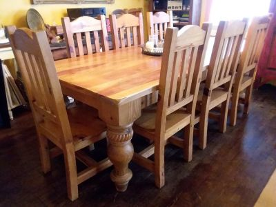 8 Foot Dining Table w/ 8 chairs