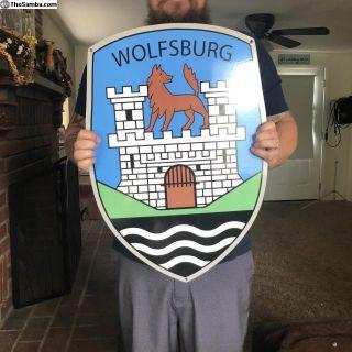 VW Wolfsburg Steel Porcelain Sign VERY HEAVY 24x17