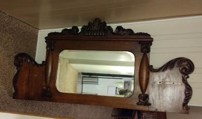 Ornate Wood with Beveled Mirror Piece