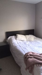 Queen size bed with dresser and night stand