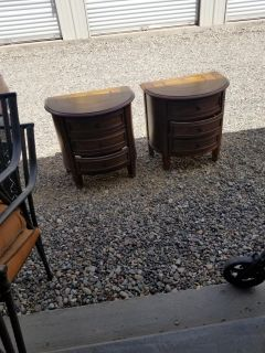 2 Wooden End Tables With 3 Drawers On Each One. Very Well Made. $85 for Pair