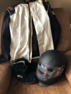 Racing suit, shoes and helmet