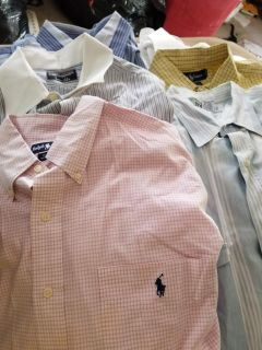 Ralph Lauren and other fine shirts long sleaved. All dry cleaned just a bit wrinkled from being off hanger.