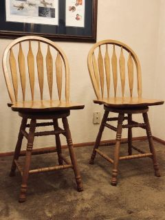 Set of TWO Solid Oak 360 Swivel High-Back Bar / Kitchen Chairs