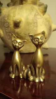Vintage Solid Brass Siamese Cats Sold as a Set