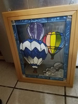 Painted Hot Air Balloon glass window decoration