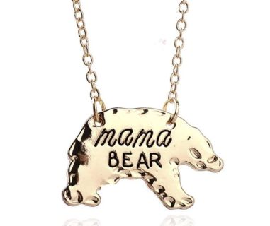 New Womens Mama Bear Necklaces in Gold