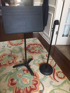 Heavy duty music stand and microphone stand